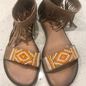 Shoes - Flat sandals worn once (zipper in back)